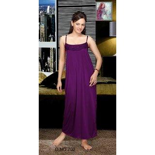 Womens 1pc Satin Nighty Dark Blue Color Night Dress 702 Gown Bedroom Nightie  Daily wear Slip   Babydoll   Maxi d756e620d