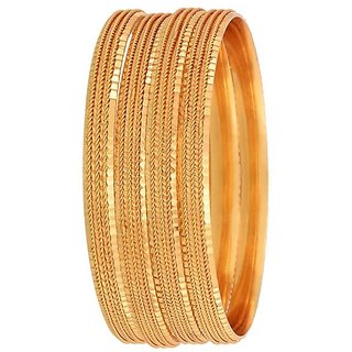 Pchalk Gold Plated Bangles Set Of 4
