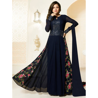 Thankar Navy Blue Embroidered Georgette Anarkali Suit