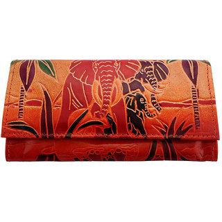 Zint Shantiniketan Pure Leather Multi Color Women's Wallet clutch
