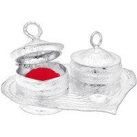 Halowishes Silver Polished  Pan Kumkum Plate Handicraft