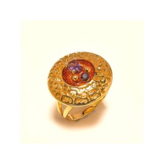 sanaa creations Round Shape Gold Plated Ring with Red Enamelling in center and multicolor gemstone