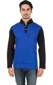 Aurelio Marco Stylish Chinese Color Royal Blue Black Henley Men T Shirt
