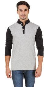 Aurelio Marco Men's Grey & Black Henley T-Shirt