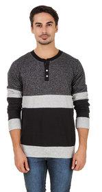Aurelio Marco Men's Millange Black & Grey Henley T-Shirt