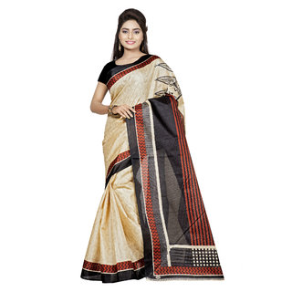 Chigy Whigy Black  Orange Bhagalpuri Silk Traditional Wear Sarees With Blouse Piece