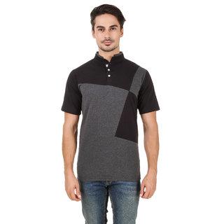 Aurelio Marco Stylish Chinise Color Grey Black Henley Men T Shirt
