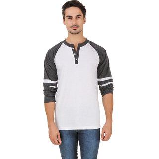 Aurelio Marco Stylish Grey White Henley Men T Shirt
