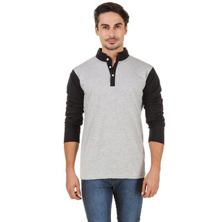 Aurelio Marco Men's Grey & Black Henley T-Shirt