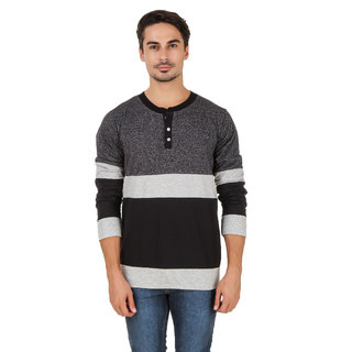 Aurelio Marco Men's Millange Black & Grey Henley T-Shirt