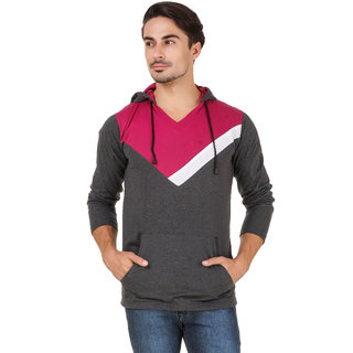 Aurelio Marco Stylish Designed Grey Bergundy Hooded Men T Shirt