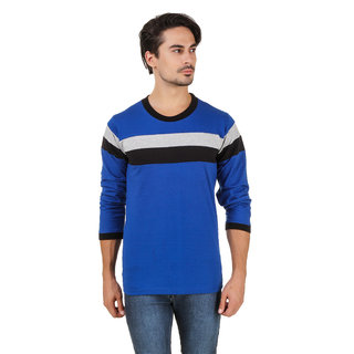 Aurelio Marco Stylish Designed Royal Blue Black Round Neck Men T Shirt