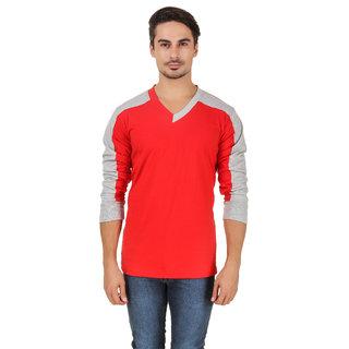 Aurelio Marco Stylish Millange Grey Red V Neck Men T Shirt