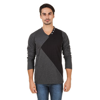 Aurelio Marco Stylish Designed Grey Black V Neck Men T Shirt