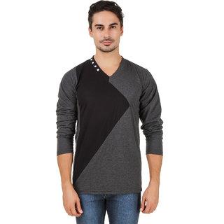 Aurelio Marco Stylish Designed Grey Black V Neck Men T Shirt