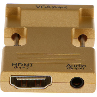 Magideal HDMI Female to VGA Male Converter + Audio Adapter Support 1080P Output Gold