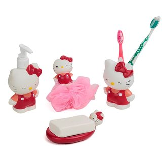 Limited Stock ! Cartoon Pink Bath Set ( 4 Pc )(with Loofah)