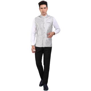 Nu Abc Silver Design Nehru Jacket For Jacket
