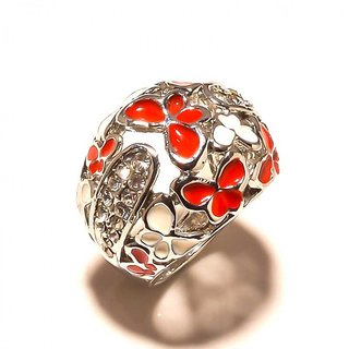 sanaa creations Designer White  Red Flower Enamelling CZ Studded Silver Plated Ring