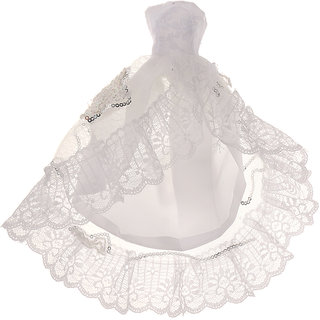 Magideal White Sequins Lace Party Gown Dress For  Dolls