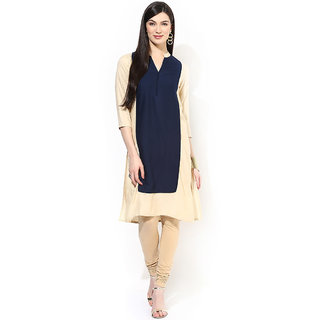 Shopeezo Daily Wear Navy Blue and Beige Color Cotton Stitched Kurti