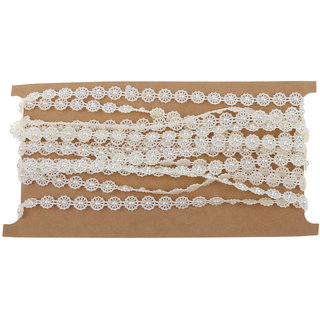 Magideal 5M Flower Pearl Beads Cotton Line Chain For Diy Craft Wedding Decor Beige