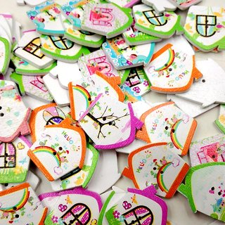 Magideal 100Pcs Mixed Color Printed House Shape Wooden Buttons With Hole Diy Craft