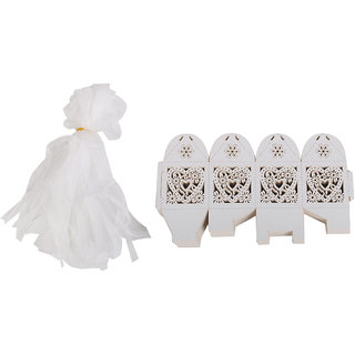 Magideal 24Pc Wedding Candy Box Love Heart Laser Cut Candle Lampshade W/ Ribbon White