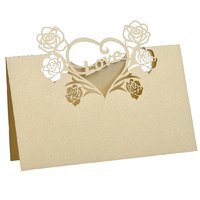 Magideal 50 Laser Cut Rose Heart Name Place Cards Wedding Christmas Table Cards Beige