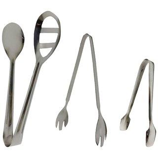 Set of 3 Tongs - Oval tong, Trishul tong, Sugar tong