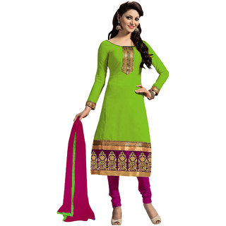 Trendz Apparels Light Green Embroidered Un Stitched Dress Material TARNSARV1010