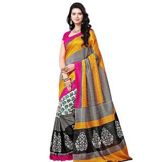 Trendz Apparels Yellow Bhagalpuri Silk Printed Saree With Blouse