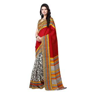 Trendz Apparels Multicolor Bhagalpuri Silk Printed Saree With Blouse
