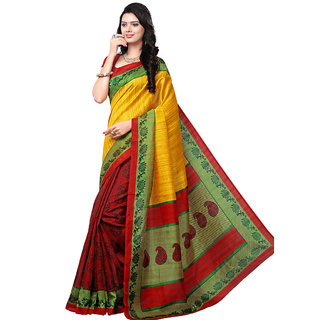 Trendz Apparels Yellow Bhagalpuri Silk Printed Saree With Blouse