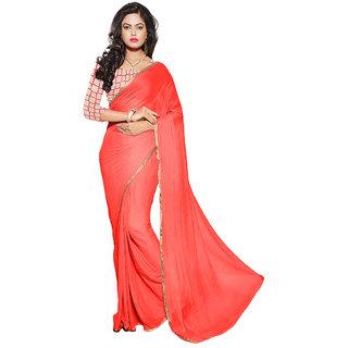 Trendz Apparels Orange Chiffon Printed Saree With Blouse