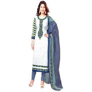 Trendz Apparels White Printed Un-Stitched Dress Material TARNSPRLT257
