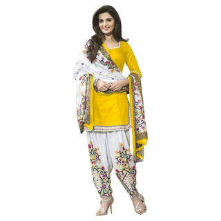 Sarees Trendz Yellow Printed Un-Stitched Dress Material TARNSPRLT3614