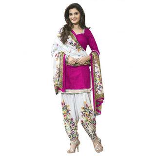 Trendz Apparels Pink Printed Un-Stitched Dress Material TARNSPRLT3615