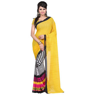 Trendz Apparels Yellow Georgette Printed Saree With Blouse
