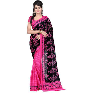 Trendz Apparels Black Georgette Printed Saree With Blouse