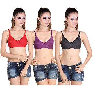 1cc9efffb3 Buy SK Dreams Multi Color Cotton Pack of 3 Bra Combo Online - Get 66% Off