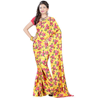 Trendz Apparels Yellow Crepe Printed Saree With Blouse