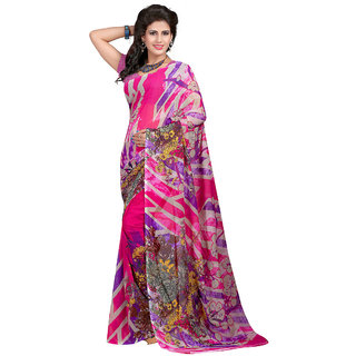Trendz Apparels Pink Georgette Printed Saree With Blouse