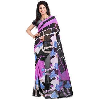 Trendz Apparels Purple Georgette Printed Saree With Blouse