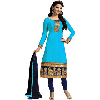 Snoby Sky Blue Chanderi Suit (SBY-TFW124-05-G5)
