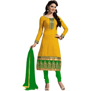 Snoby Yellow Chanderi Suit (SBY-TFW124-07-G7)