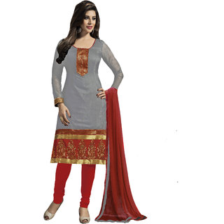 Snoby Grey Chanderi Suit (SBY-TFW124-08-G8)