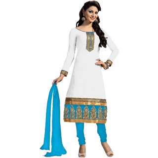 Snoby White Chanderi Suit (SBY-TFW124-10-G10)