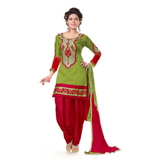 Snoby Olive Green Chanderi Suit (SBY-TFW68-06-G6-Olive Green)