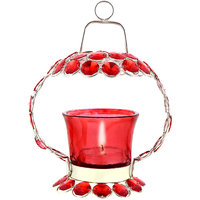 Halowishes Red Crystal Tealight Candle Holder Stand Han